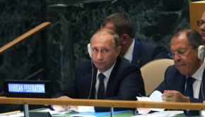 NEW YORK, NY - SEPTEMBER 28:  Vladimir Putin, President of Russia,  sits with the Russian delegates at the United Nations General Assembly on September 28, 2015 in New York City. The ongoing war in Syria and the refugee crisis it has spawned are playing a backdrop to this years  70th annual General Assembly meeting of global leaders.  (Photo by Spencer Platt/Getty Images)