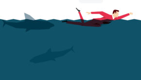 55603041 - red suit businessman in the ocean. vector concept illustration.