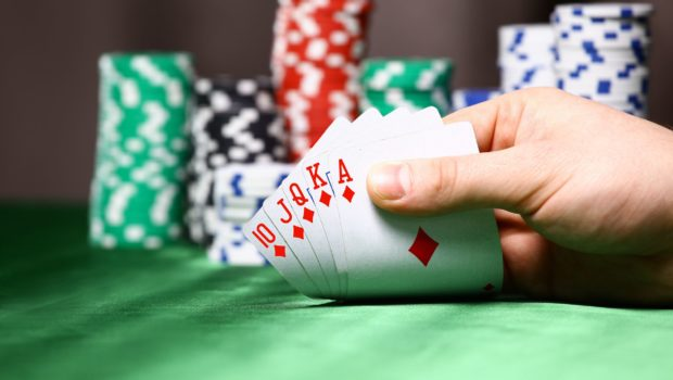 22143119 - place a poker player  chips and card