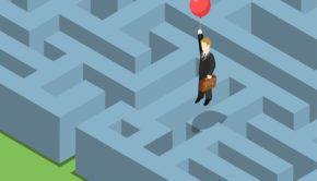 48541394 - risk management concept flat 3d web isometric infographic. labyrinth maze puzzle avoid business problems creative smart solutions. businessman on balloon flying over obstacles, keep away from crisis.