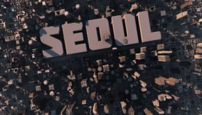 10088102 - top view of urban city in 3d with skycrapers, buildings and name seoul