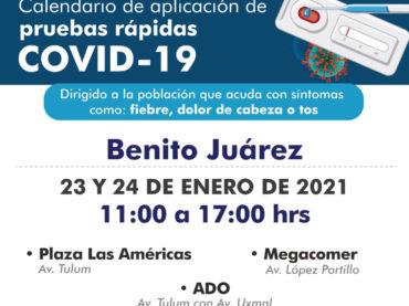 Del 19 al 24 de enero se realizarán pruebas rápidas en el municipio de Felipe Carrillo Puerto
